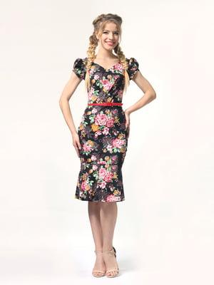Сукня чорна в квітковий принт | 4418826