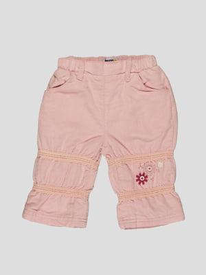 Брюки светло-розовые с вышивкой   4397099