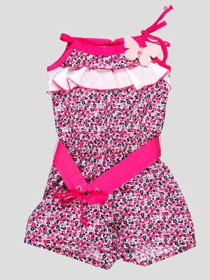 Комбинезон бело-розовый в цветочный принт | 4397721