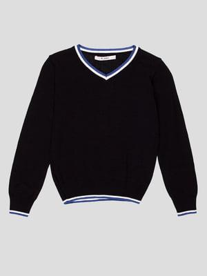 Пуловер темно-синій з контрастним оздобленням | 1800757