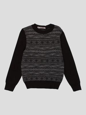 Джемпер чорно-сірий з візерунком | 4397333