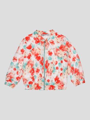 Куртка біло-коралова в квітковий принт | 4397475