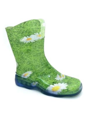 Чоботи зелені з квітковим принтом | 3543792