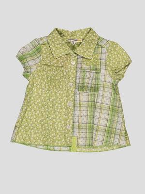 Блуза салатовая с комбинированным принтом   1725476