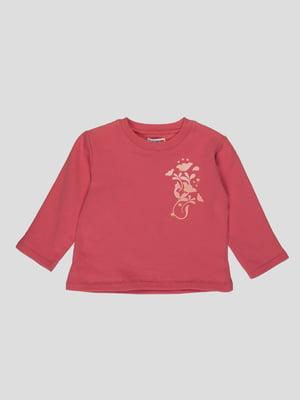 Лонгслів темно-рожевий з принтом | 4397420