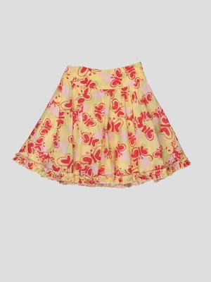 Спідниця жовта в принт-метелики | 1104621