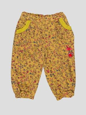 Брюки желтые с цветочным принтом   4396326