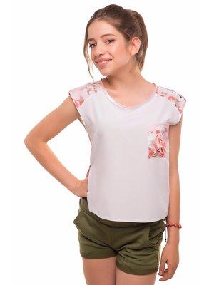 Блуза светло-розовая с цветочным принтом - Tashkan - 4419971