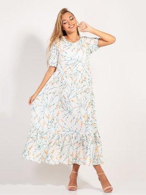 Платье молочного цвета в принт | 4400081