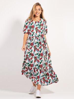 Платье белое в принт | 4400084