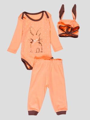 Комплект: боді, штани та шапочка | 4413005