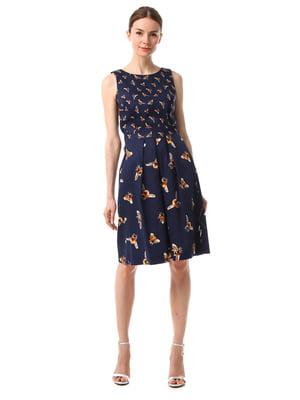 Сукня синя з принтом | 4323506