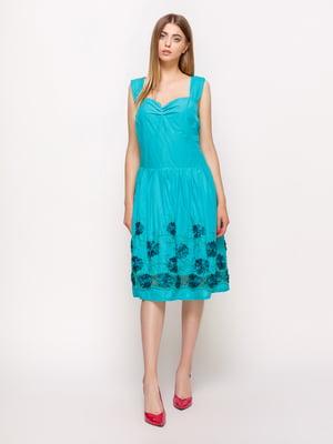Сукня бірюзова з декором - Alpama - 2650898