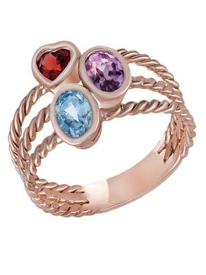 Золотое кольцо с аметистом, топазом и гранатом | 4439589