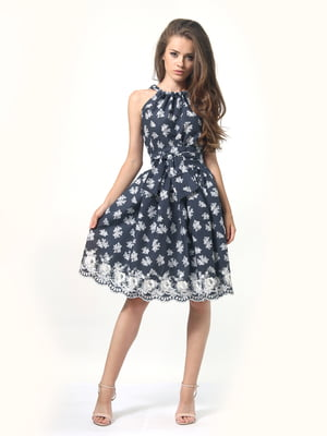 Сукня темно-синя в горошок і квітковий принт | 4418789
