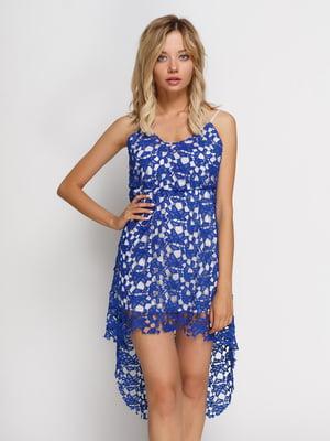 Сукня синя на білій підкладці | 4166868