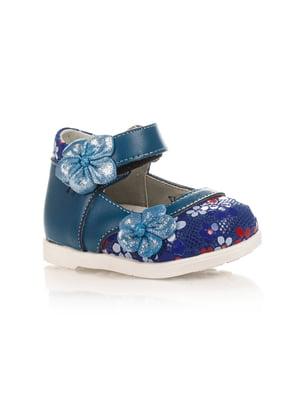 Туфлі сині з квітковим принтом | 4409078