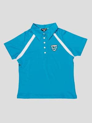 Футболка-поло блакитна з контрастним оздобленням   29642
