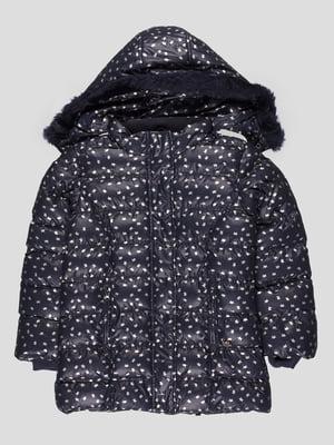 Куртка темно-синя в принт | 4396415