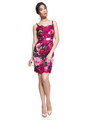 Сарафан яскраво-малиновий з квітковим принтом | 2950674