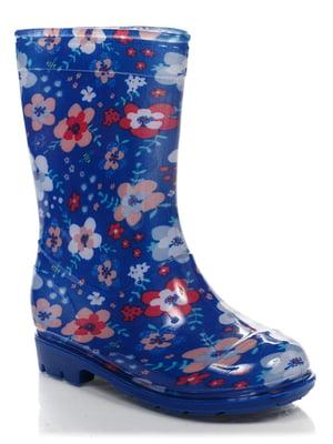 Чоботи сині в квітковий принт | 4410329