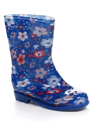 Чоботи сині в квітковий принт | 4412945