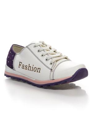 Кроссовки бело-фиолетовые с надписью | 4412579