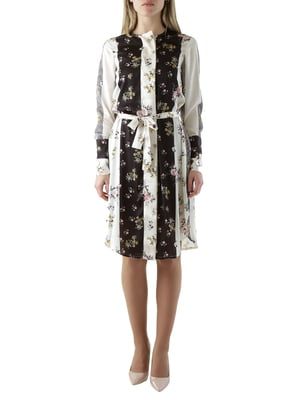 Сукня чорно-біла в квітковий принт | 4454542
