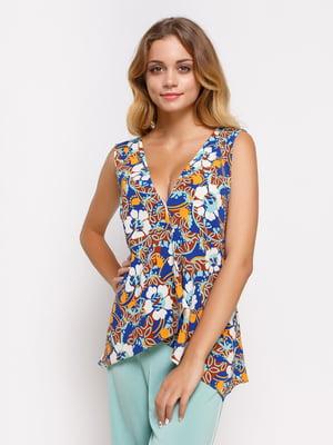 Блуза синя в принт | 2750373