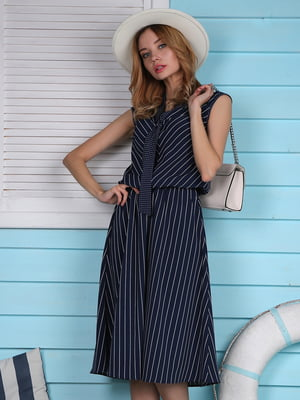 Сукня темно-синя в смужку | 4459932