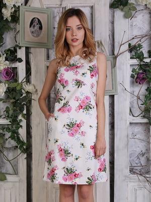 Сукня біла з квітковим принтом | 4384551
