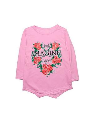 Туника розовая с принтом | 4466051