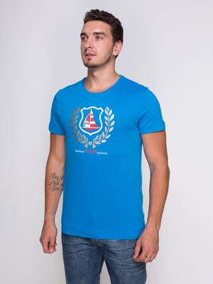 Футболка голубая с принтом | 4462959