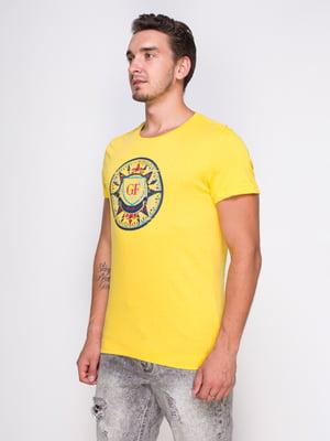 Футболка желтая с принтом | 4462979