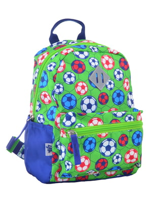 Рюкзак дитячий синьо-салатовий в принт | 4284720