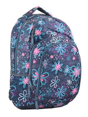 Рюкзак молодіжний темно-синій в квітковий принт | 4284754