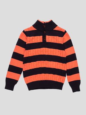 Джемпер оранжево-синий в полоску | 4457110