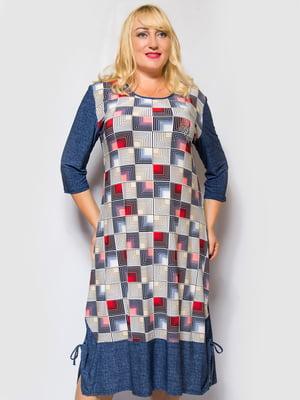 Сукня синя з принтом | 4486854