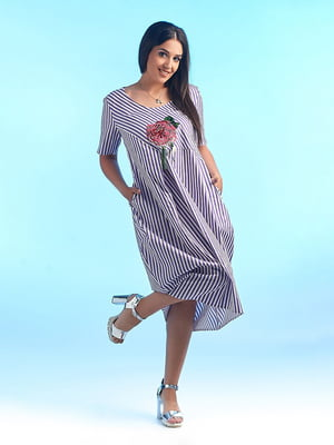 Сукня в смужку з декором | 4488783