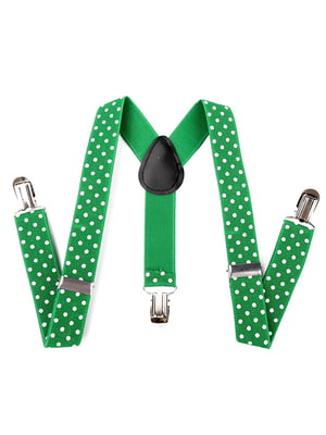 Підтяжки зелені в горох | 4444893