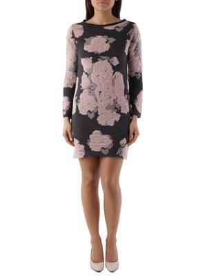 Сукня темно-сіра з квітковим принтом | 4490099