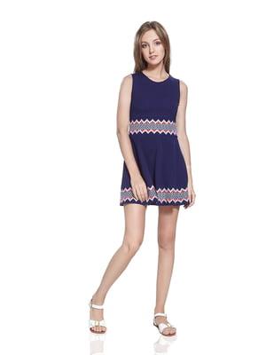 Платье синее с орнаментом | 4491070