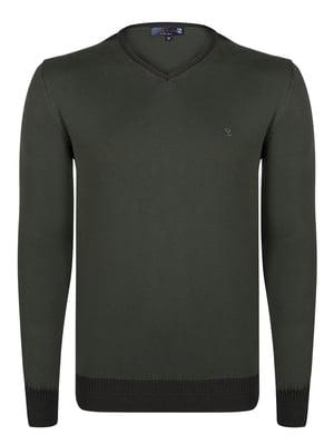 Пуловер кольору хакі   4376986
