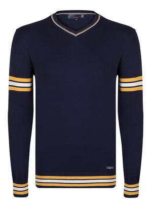 Пуловер синій зі смужками   4489238