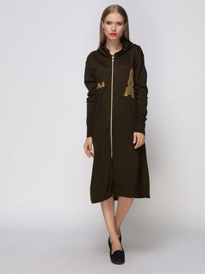 Платье цвета хаки с декорированным рисунком | 4480998