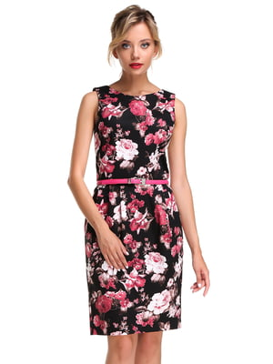 Платье черное в цветочный принт   4470208