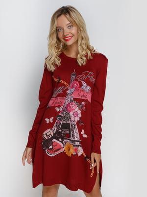 Платье бордовое с декорированным принтом | 4481106