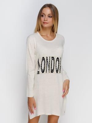 Платье молочного цвета с надписью и декором | 4481300