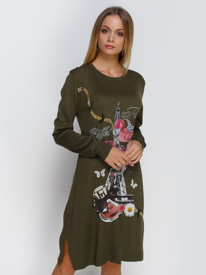 Платье цвета хаки с декорированным принтом | 4481105