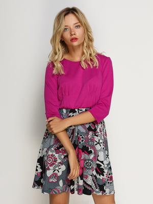 Сукня фіолетово-сіра з принтом | 4492650